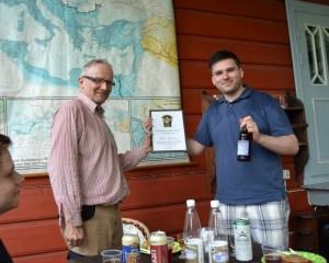 We awarded Klaus with a diploma and a bottle of Sori Investor IPA