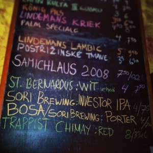 Sori Brewing products on Gastropub Tuulensuu, Tampere blackboard