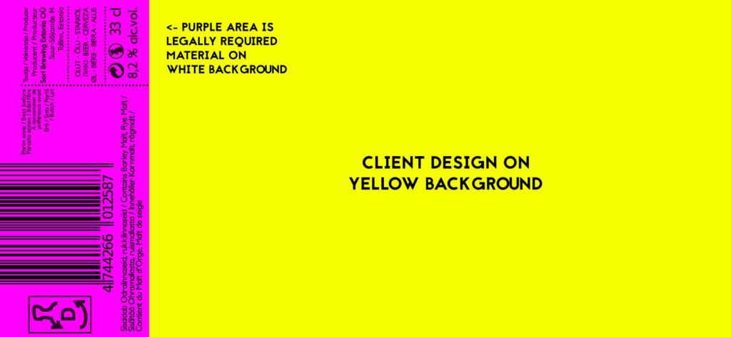 Klikkaa suuremmaksi! Etiketin malli. Asiakkaan design keltaisella.